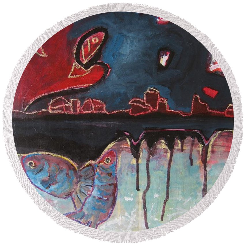 Abstract Paintings Round Beach Towel featuring the painting Nipper by Seon-Jeong Kim