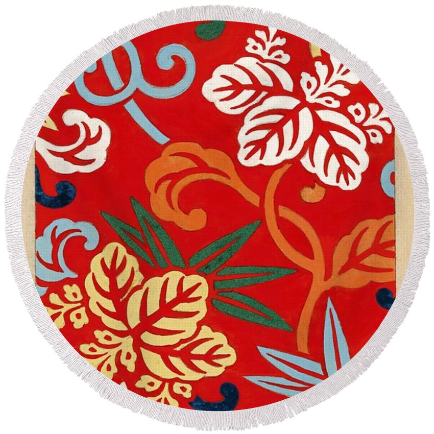 Textile Print Round Beach Towel featuring the painting Nishike Brocade With Paulownia Arabesque by Vintage Printery