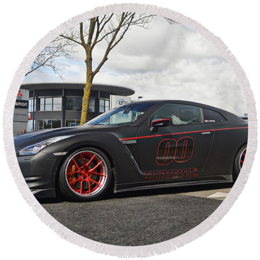 Nissan Round Beach Towel featuring the photograph Nissan GT-R by Jk Photography