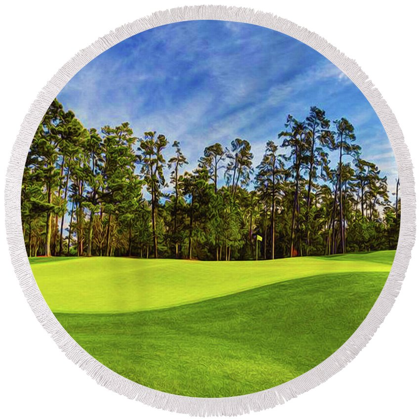Home Art Round Beach Towel featuring the digital art No. 14 Chinese Fir 440 Yards Par 4 by Don Kuing