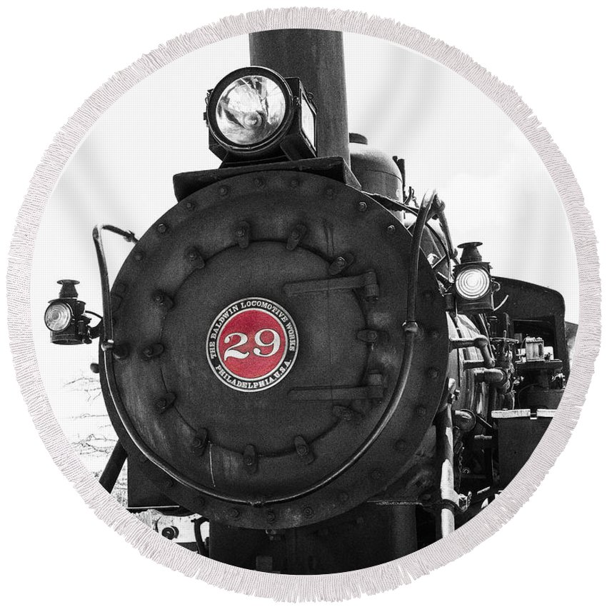 Excursion Trains Round Beach Towel featuring the photograph No. 29 by Jim Thompson