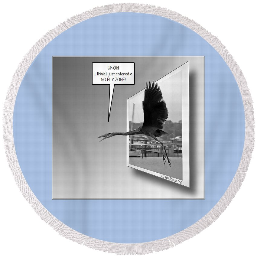 2d Round Beach Towel featuring the photograph No Fly Zone by Brian Wallace