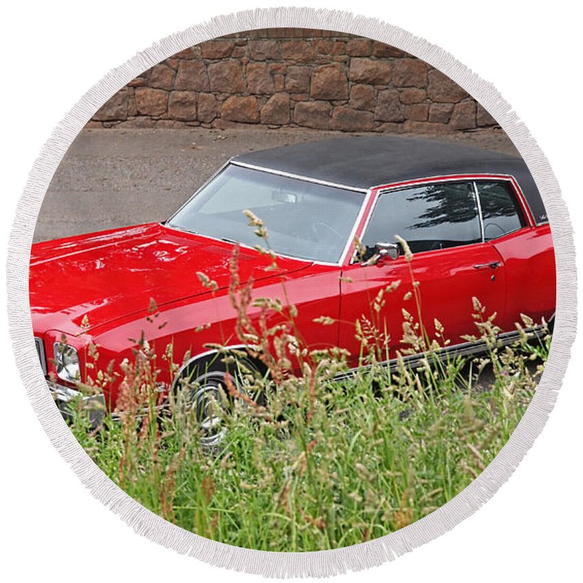 Classic Chevy Round Beach Towel featuring the photograph No Hiding Place - Monte Carlo Ss 1970 by Gill Billington