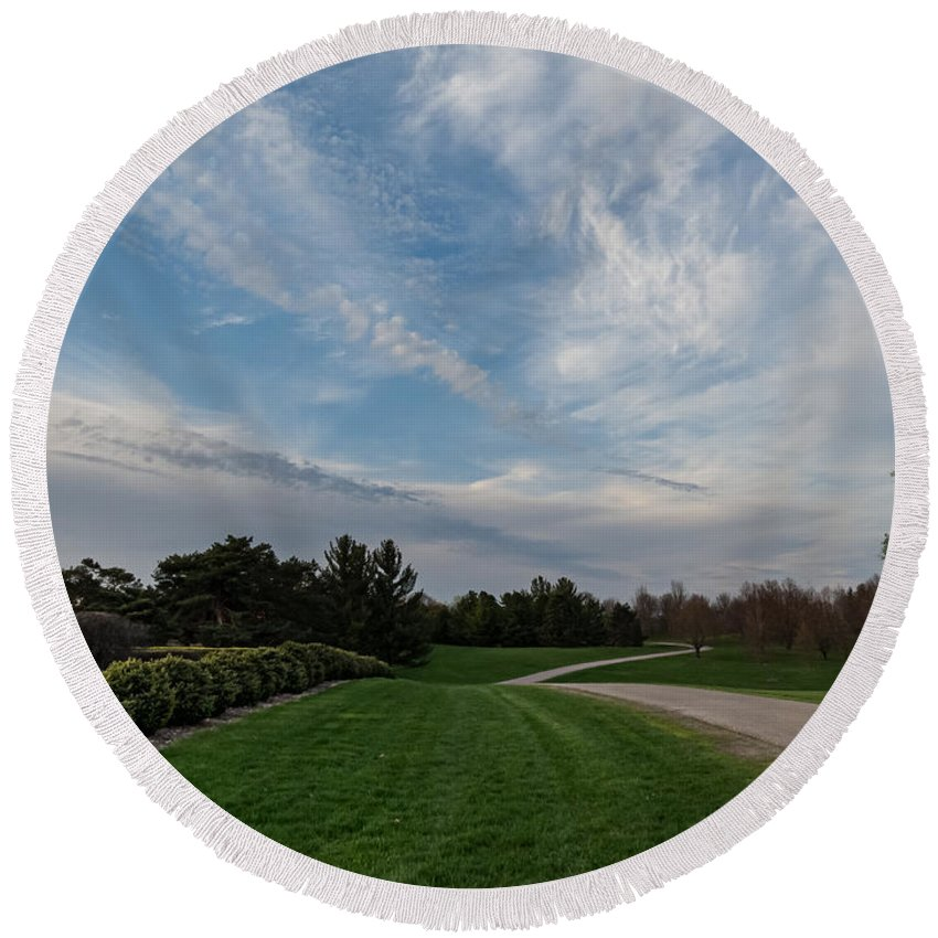 Pathway Round Beach Towel featuring the photograph Pathway To The Sky by Patti Deters