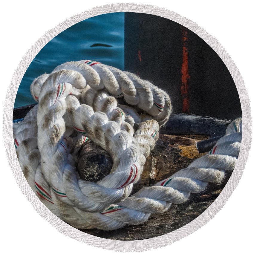 Rope Round Beach Towel featuring the photograph Ship Rope by Patti Deters
