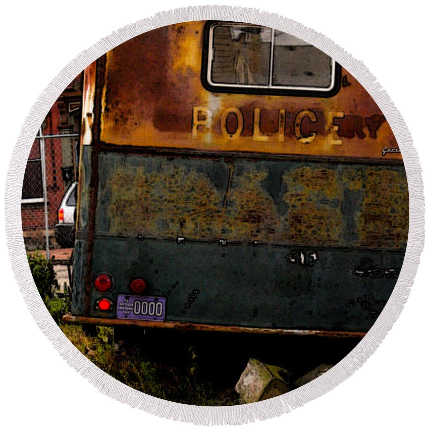 Paddy Wagon Round Beach Towel featuring the photograph No Need For The Black Maria by Jay Ressler