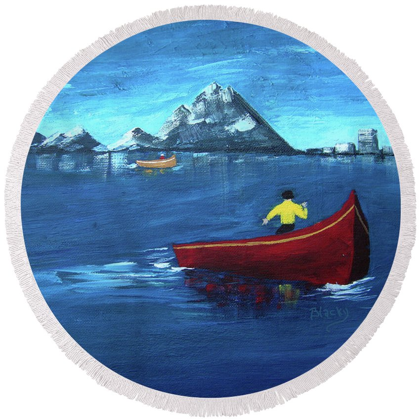 Boat Round Beach Towel featuring the painting No Paddle by Donna Blackhall