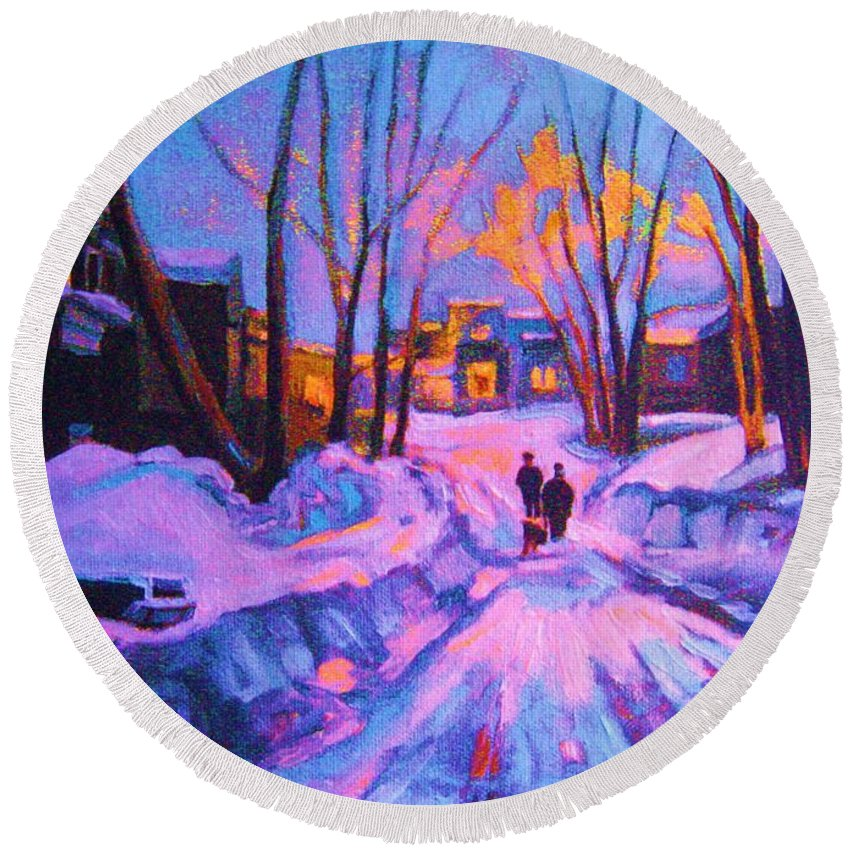Winterscene Round Beach Towel featuring the painting No Sidewalks by Carole Spandau
