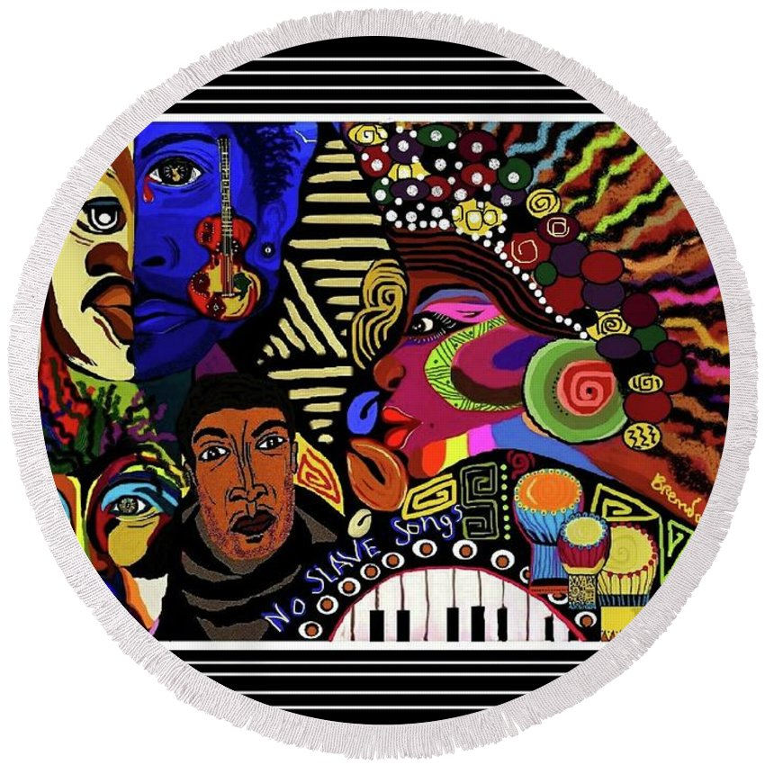 Abstract Afrocentric Cultural Print Art Digital Round Beach Towel featuring the digital art No Slave Songs by Brenda Phillips