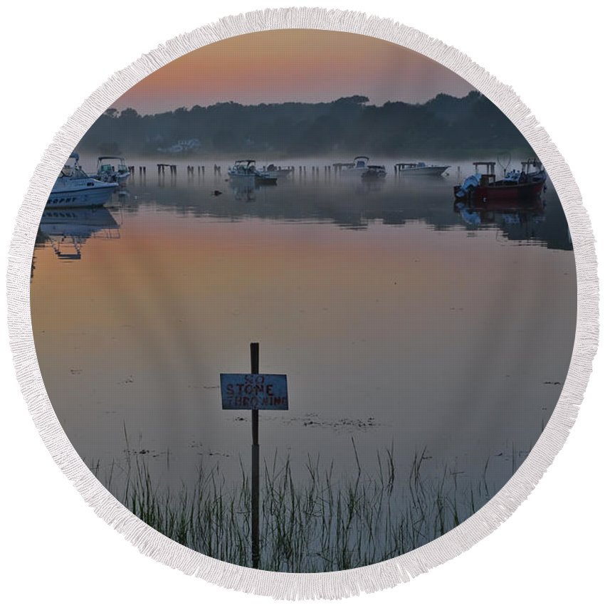 Cape Neddick Round Beach Towel featuring the photograph No Stone Throwing by Catherine Easton