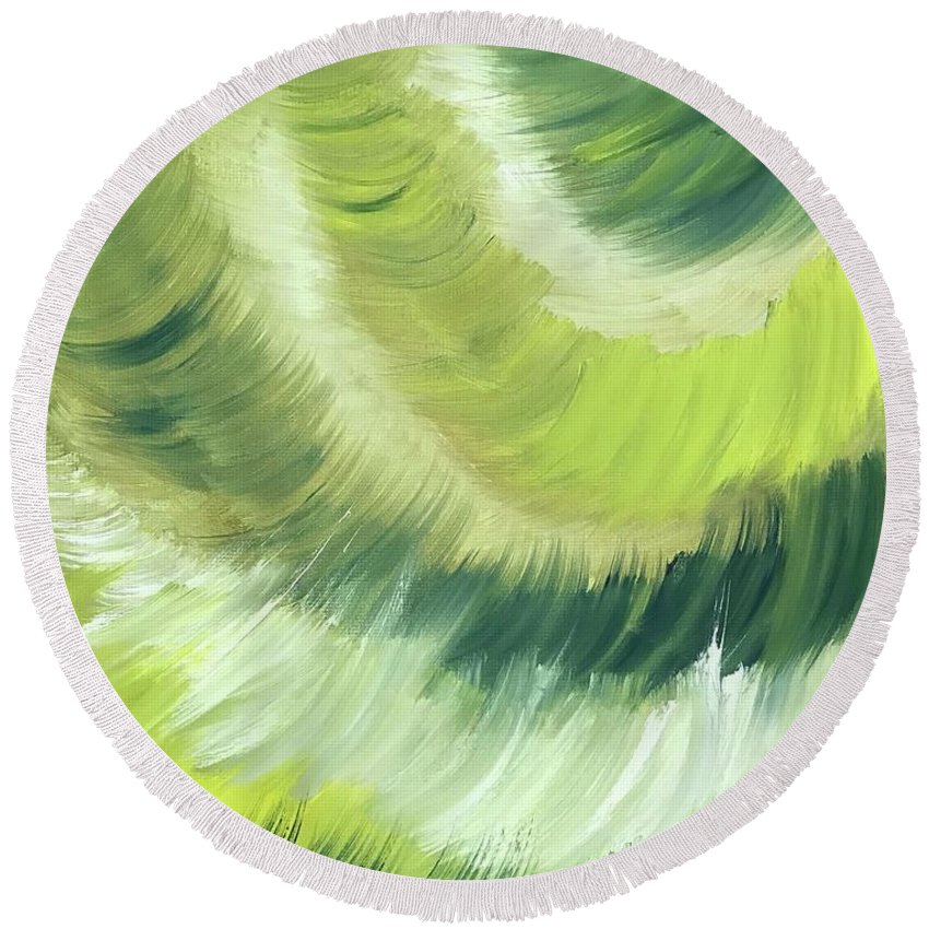 Abstract Round Beach Towel featuring the painting No Strings Attached by Sheila Mashaw