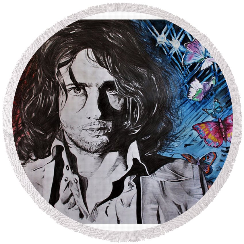 Syd Barrett Round Beach Towel featuring the painting No Sugar Is Enough To Bring Sweetness To His Cup by Kuba Stronski