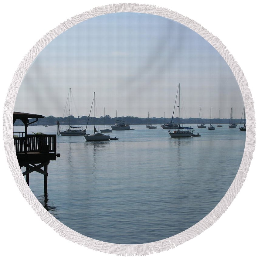 Art For The Wall...patzer Photography Round Beach Towel featuring the photograph No Wind by Greg Patzer