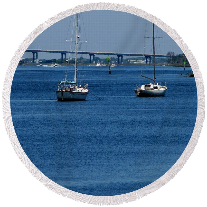 Patzer Round Beach Towel featuring the photograph No Yard Work by Greg Patzer
