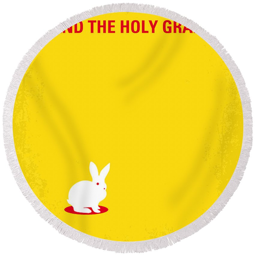 Monty Round Beach Towel featuring the digital art No036 My Monty Python And The Holy Grail Minimal Movie Poster by Chungkong Art
