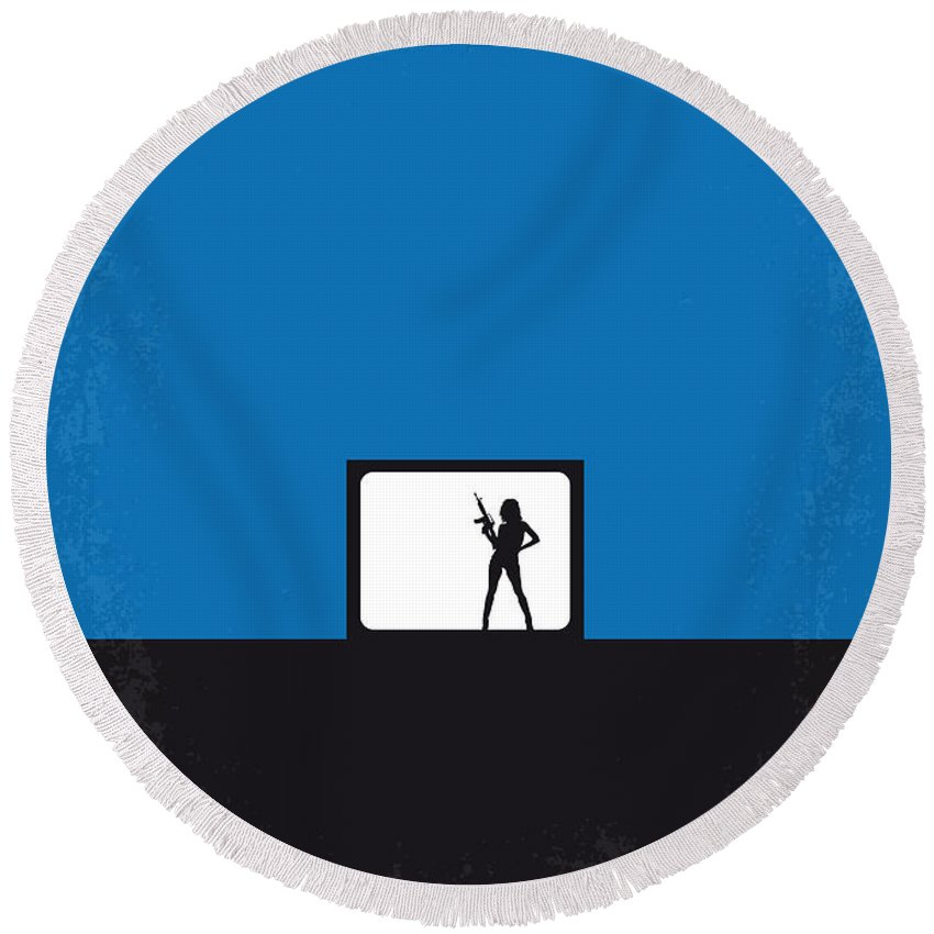 Jackie Round Beach Towel featuring the digital art No044 My Jackie Brown Minimal Movie Poster by Chungkong Art