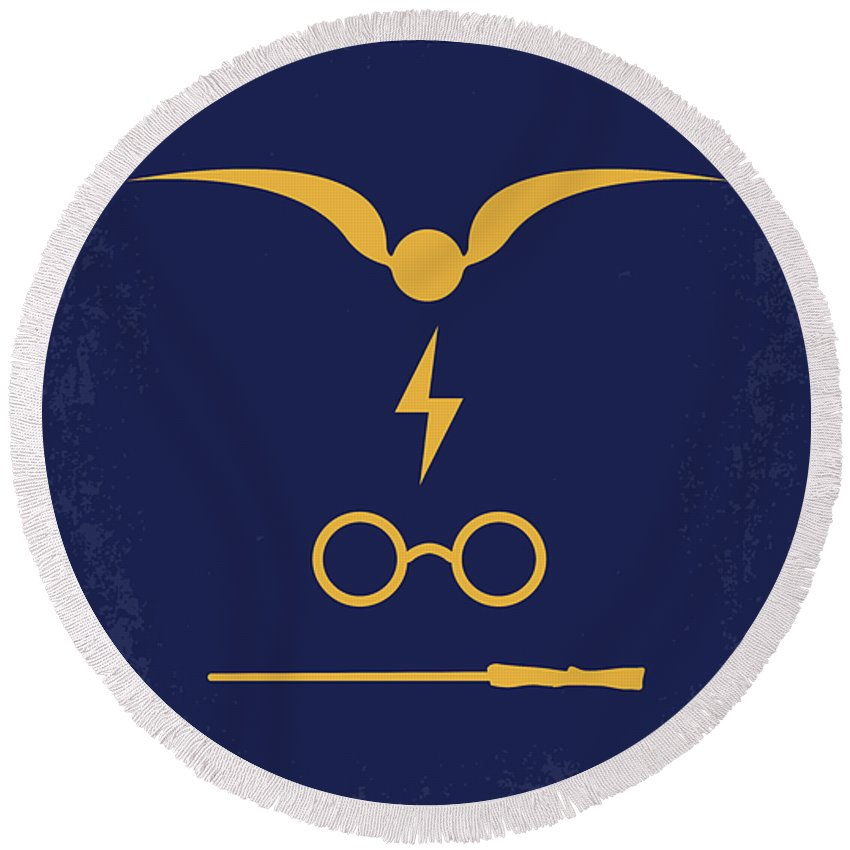 Harry Round Beach Towel featuring the digital art No101 My Harry Potter Minimal Movie Poster by Chungkong Art