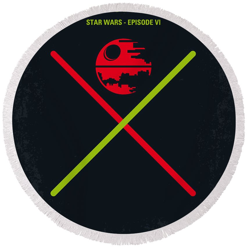 Star Round Beach Towel featuring the digital art No156 My Star Wars Episode Vi Return Of The Jedi Minimal Movie Poster by Chungkong Art