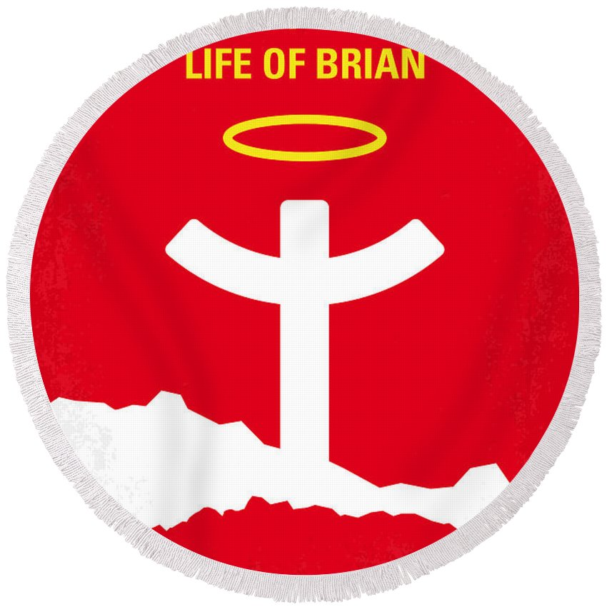 Monty Round Beach Towel featuring the digital art No182 My Monty Python Life Of Brian Minimal Movie Poster by Chungkong Art