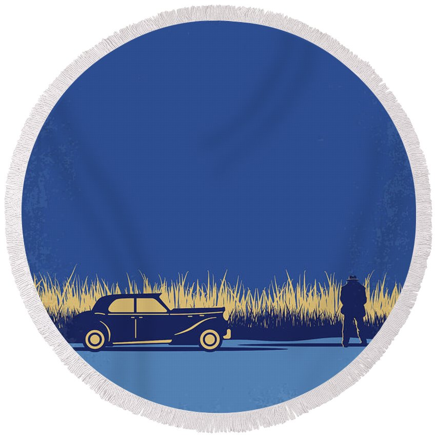 The Round Beach Towel featuring the digital art No686-1 My Godfather I minimal movie poster by Chungkong Art