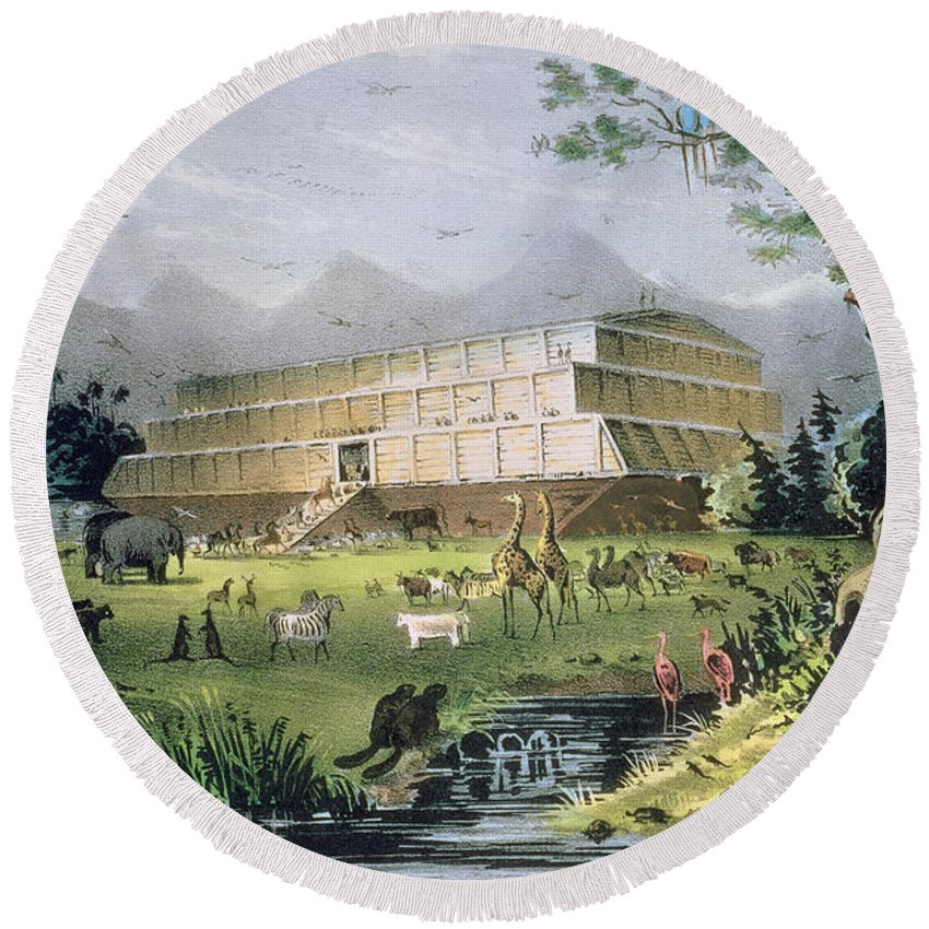 Noah's Ark Round Beach Towel featuring the painting Noahs Ark by Currier and Ives