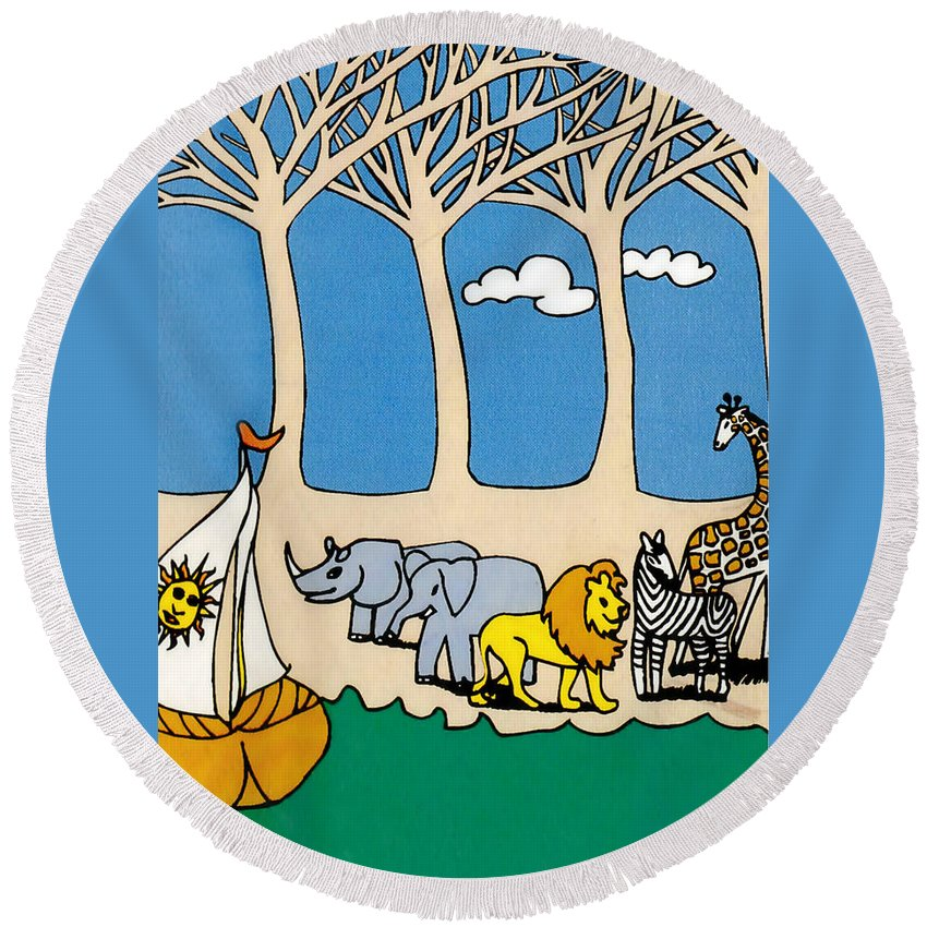 Noah's Ark Round Beach Towel featuring the painting Noah's Ark by Genevieve Esson