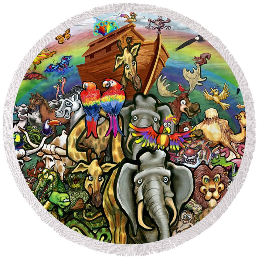 Noah's Ark Round Beach Towel featuring the painting Noah's Ark by Kevin Middleton