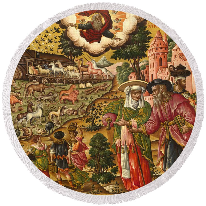 Theodoros Poulakis Round Beach Towel featuring the painting Noah's Ark by Theodoros Poulakis