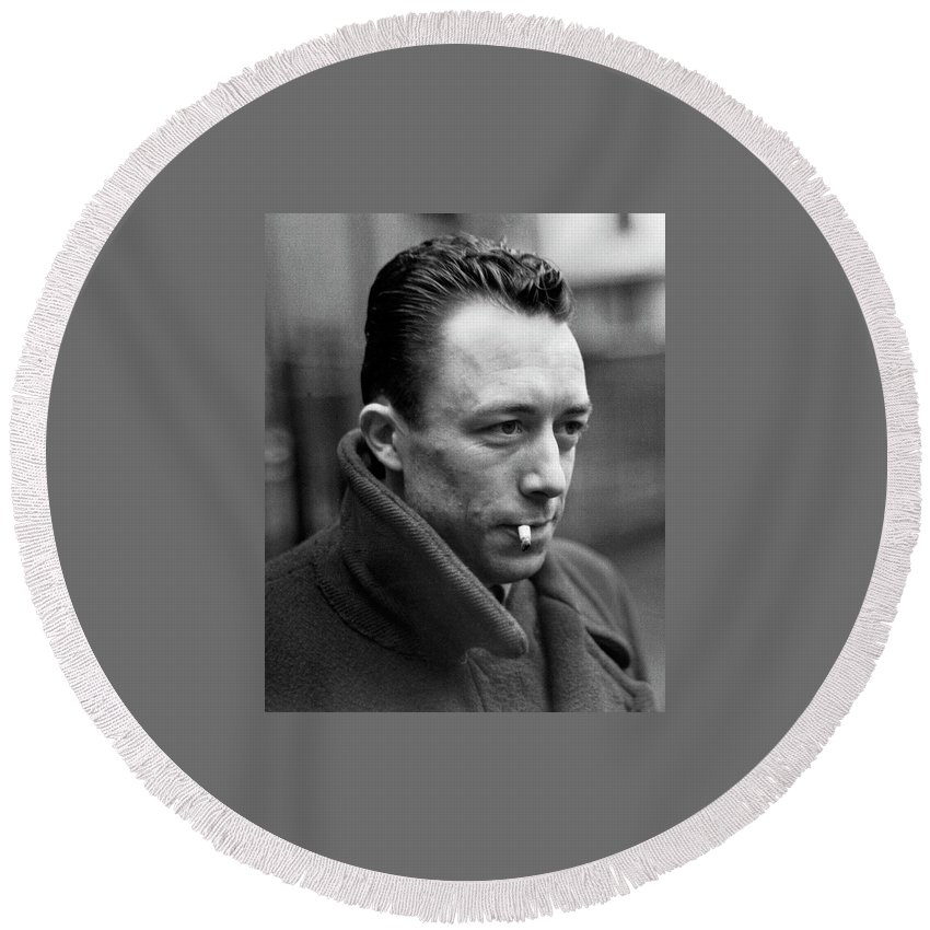 Nobel Prize Winning Writer Albert Camus #1 Paris France 1944-2015 Round Beach Towel featuring the photograph Nobel Prize Winning Writer Albert Camus Paris, France, 1944 -2015 by David Lee Guss