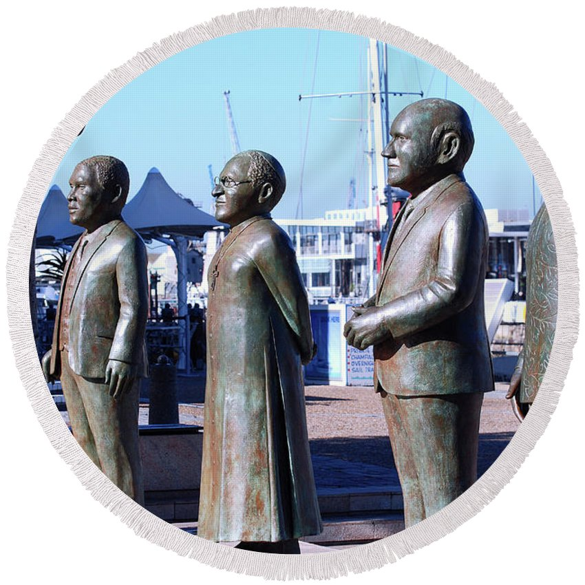 Africa Round Beach Towel featuring the photograph Nobel Square / To Honor South Africa's Four Nobel Peace Prize Laureates by Harvey Barrison