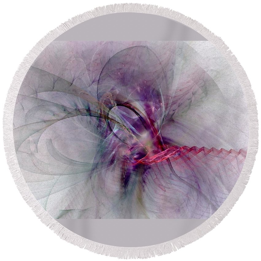 Spiritual Round Beach Towel featuring the digital art Nobility Of Spirit - Fractal Art by NirvanaBlues