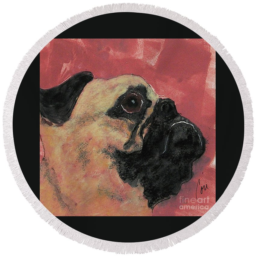 Pug Round Beach Towel featuring the mixed media Noble Intentions by Cori Solomon