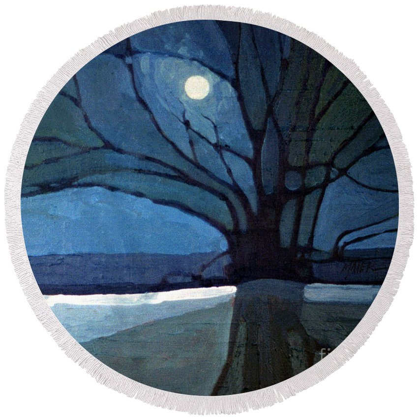 Moonrise Round Beach Towel featuring the painting Nocturne 71 by Donald Maier