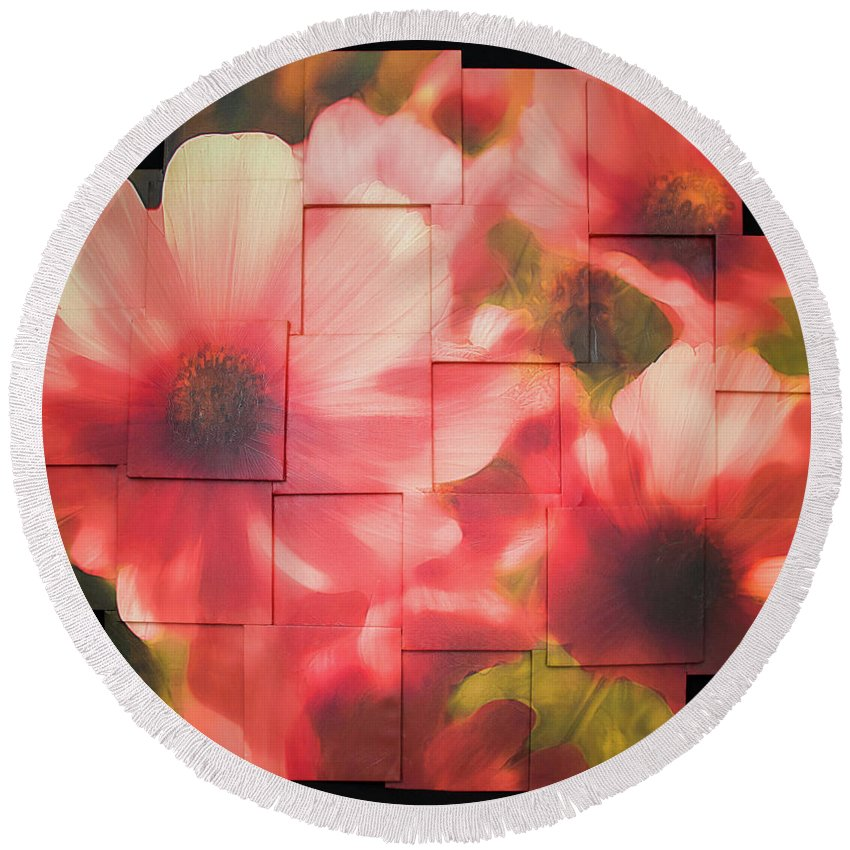 Flower Round Beach Towel featuring the sculpture Nocturnal Pinks Photo Sculpture by Michael Bessler