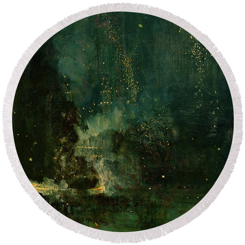 Nocturne Round Beach Towel featuring the painting Nocturne In Black And Gold - The Falling Rocket by James Abbott McNeill Whistler