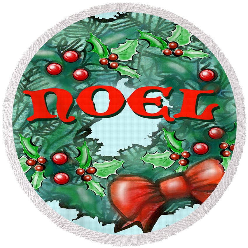 Noel Round Beach Towel featuring the greeting card Noel by Kevin Middleton