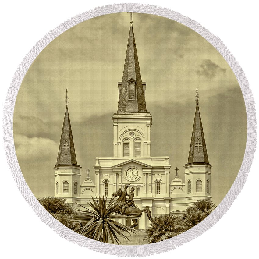 Nola Round Beach Towel featuring the photograph Nola - Jackson Square In Sepia by Bill Cannon