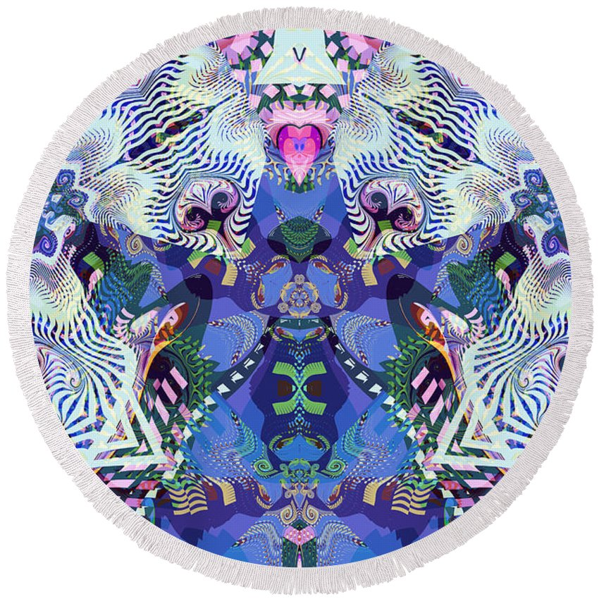 Abstract Round Beach Towel featuring the digital art Non-perishable by Jim Pavelle
