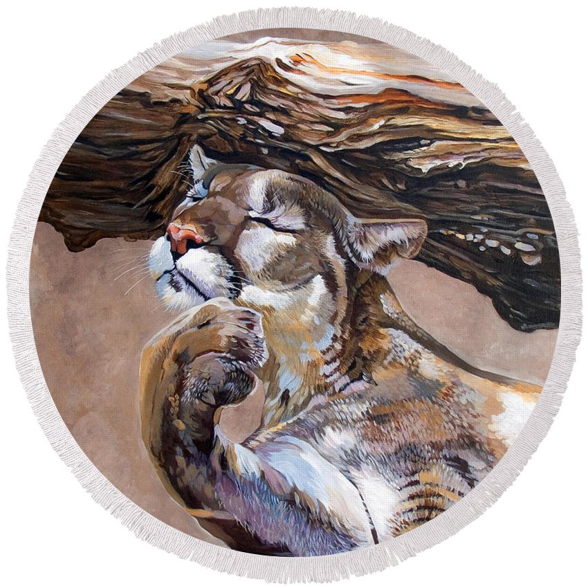 Catamount Round Beach Towel featuring the painting Nonchalant by J W Baker