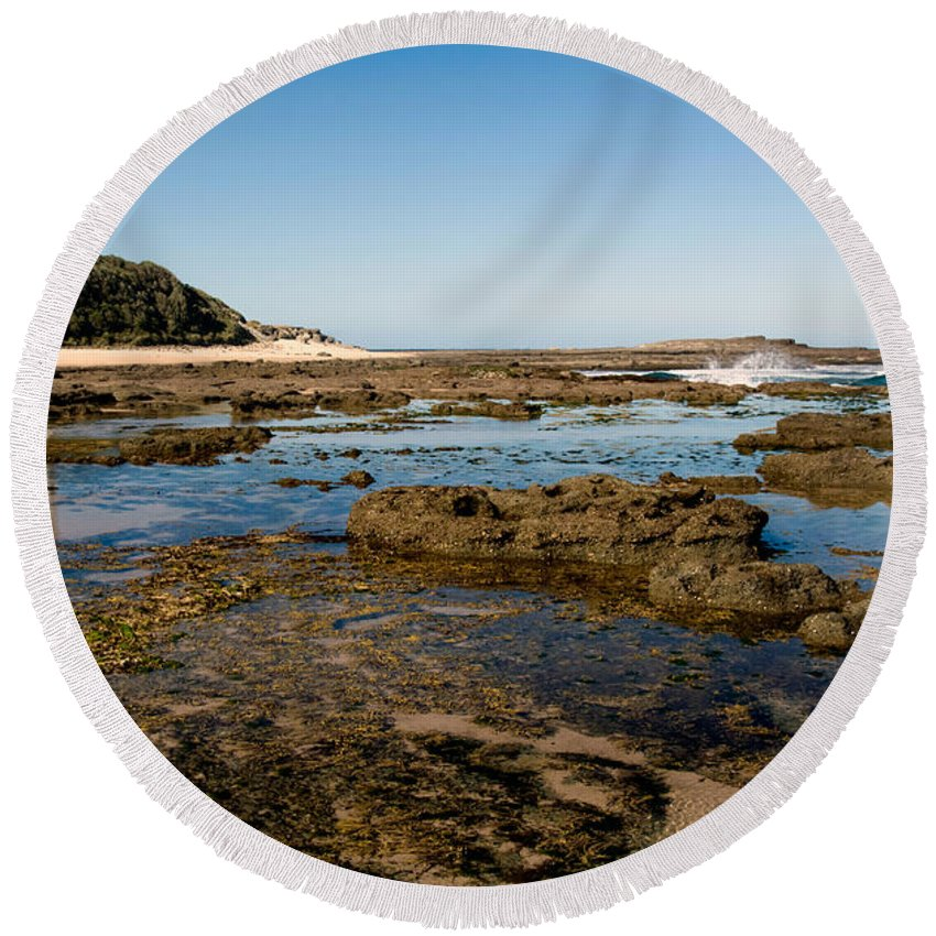 Norah Round Beach Towel featuring the photograph Norah Head Lighthouse by Nicholas Blackwell