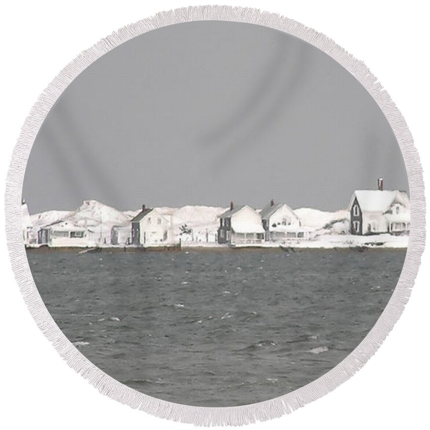 Nor'easter Round Beach Towel featuring the photograph Nor'easter Hits Sandy Neck by Charles Harden