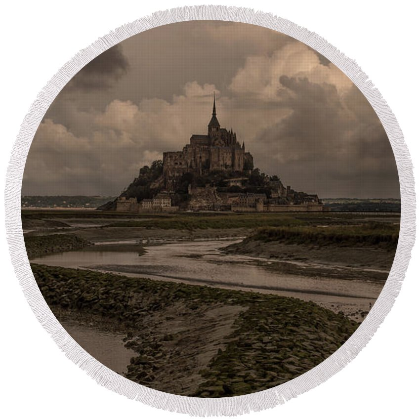 Normandy Round Beach Towel featuring the photograph Normandy Clouds by Marcel Van der Stroom