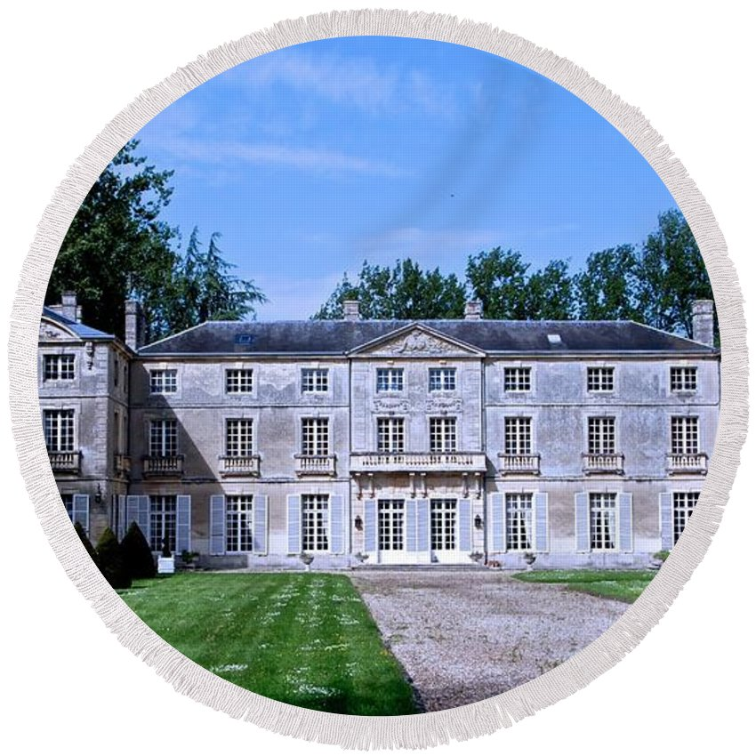 Normandy Round Beach Towel featuring the photograph Normandy Manor House by Eric Tressler