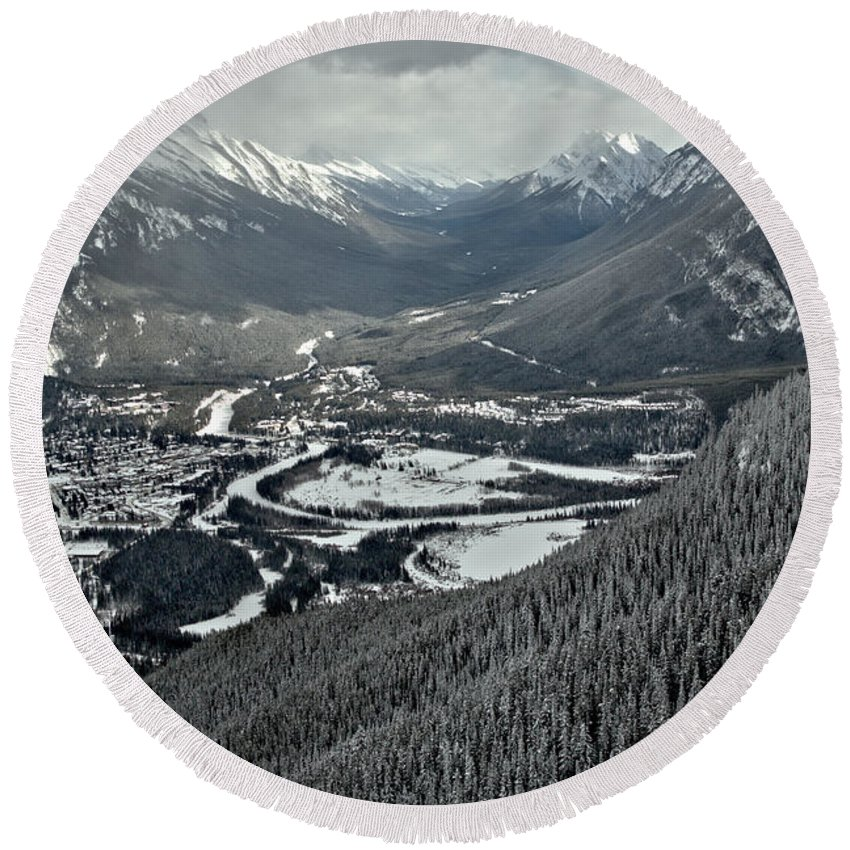 Rundle Round Beach Towel featuring the photograph Norquay Banff Town Views by Adam Jewell