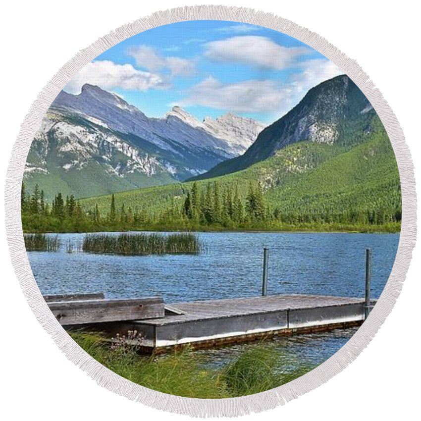 Norquay Round Beach Towel featuring the photograph Norquay Panorama by Frozen in Time Fine Art Photography