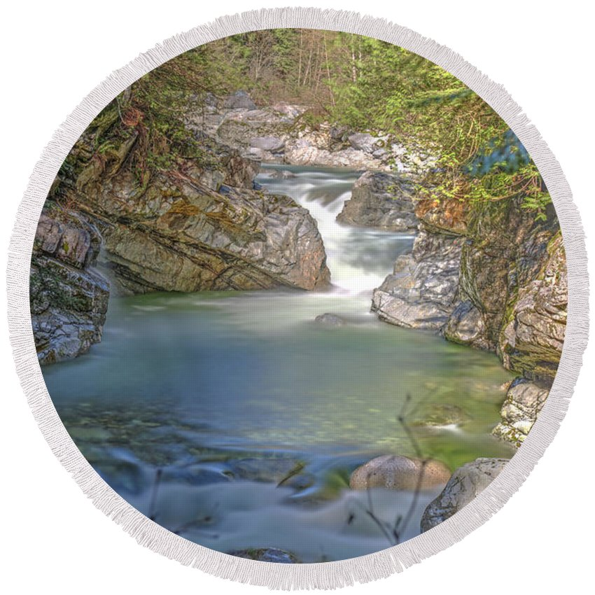Norrish Creek Round Beach Towel featuring the photograph Norrish Creek by Rod Wiens