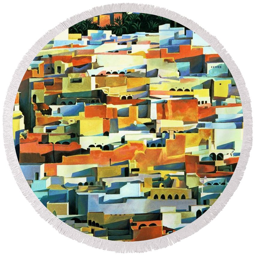 Town; Urban; Flat Roofs; Roof; Africa; Moorish Architecture; African; Townscape; North Africa; Colorful; House; Houses Round Beach Towel featuring the painting North African Townscape by Robert Tyndall