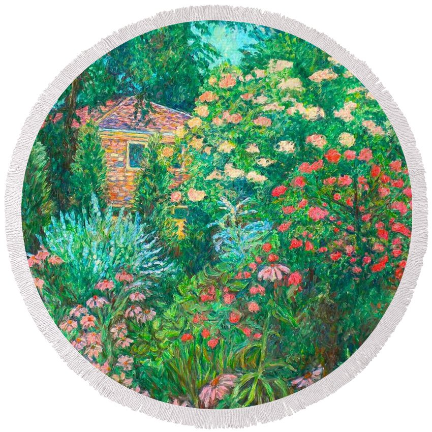 Garden Round Beach Towel featuring the painting North Albemarle In Mclean Va by Kendall Kessler