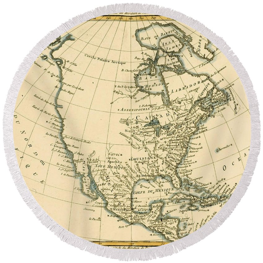 Maps Round Beach Towel featuring the painting North America by CMR Bonne