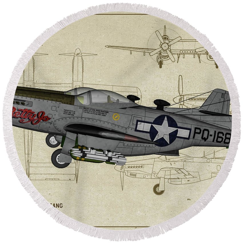 Fighter Round Beach Towel featuring the digital art North American F-82b Twin Mustang - Profile Art by Tommy Anderson